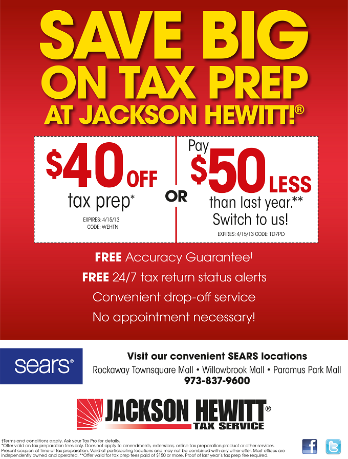 Save $40 or $50 on your tax preparation with coupon codes WEHTN and TD7PD.  Call 973-837-9600 for more details.